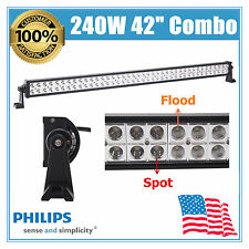 "42"" Inch 240W PHILIPS Led Light Bar Flood Spot Combo Driving Suv Jeep Track Boat"
