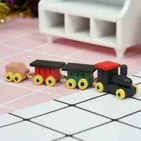 Cute 1/12 Dollhouse Miniature Painted Wooden Toy Train Carriages Gift Set a Z1L5