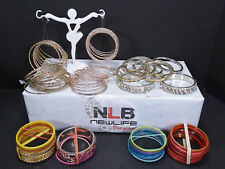 HUGE Women bracelet Bangle Assorted lot MOSTLY THIN METAL BANGLES New & Used 120
