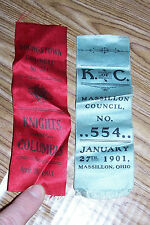 1901 & 1903 Knights of Columbus Council Ribbon Massillon No. 554 Youngstown 274