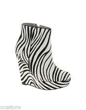 Aldo Miggins Wedge Platform Elevator Heels Zebra Calf Hair EU 37 US 6.5 B