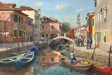 STUNNING ORIGINAL RICHARD HARPUM M.A (Camb) Burano Canal, Venice  PAINTING