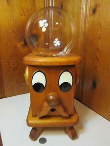 Vintage Handmade Wooden Man Mustache Face Gumball Candy Machine Nut Dispenser