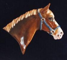 Fine Bone China Horse Brooch - Horse in Head Collar - Chestnut sabino