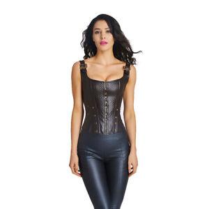 Lady Burlesque Corset Basque Cincher Lingerie Bustier Gothic Faux Leather Buckle