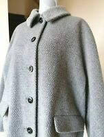 Vtg St. Michael Women's Long Sleeve Grey Textured Wool Mohair Blend Coat ~ UK 18