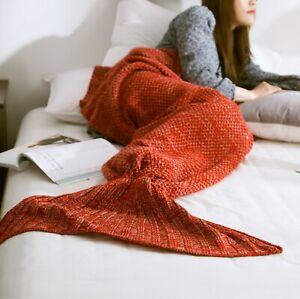 Kids Mermaid Tail Blanket Soft Warm Crochet Bedding Wrap Sleeping Bags For Girls