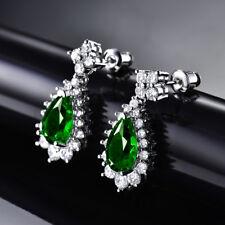 HUCHE Vintage Retro Style Emerald Green Sapphire Crystal Dangle Women Earrings