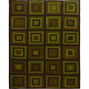 """10'1""""x12'10"""" Green With Square Design Pure wool Hand Woven Oriental Rug R57518"""