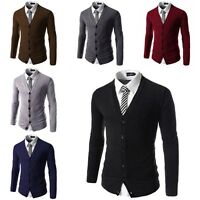 Mens Casual Long Sleeve Knitted Cotton Cardigan Slim Fit V-Neck Jumper Sweater