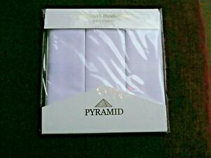 Pack of 3 Pyramid 100% Mens Cotton White Gentlemen's Handkerchiefs. Flat Pack