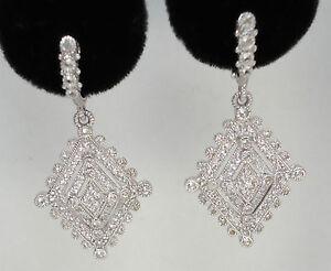 NEW $950 Judith Ripka White Sapphire Silver Deco Drop Earrings Gold