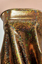SHATTERED GLASS SPANDEX HOLOGRAM BLACK/GOLD DANCE GYMNASTIC LEOTARD COSTUME