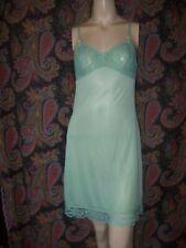 Vintage Gaymode Green Silky Nylon Lacy Empire Slip Nighty Lingerie 34