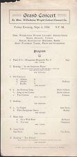 1914 Grand Concert Souvenir Program by Wilhelmina Wright Calvert Concert Co.