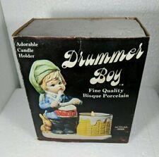 Vintage Jasco Bisque Porcelain Drummer Boy Christmas Luskins Candle Holder 1978