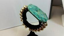 Designer Nest Turquoise Blue/Green Large Slab & Bead Stretch Bracelet Size 6