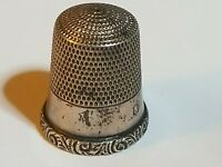 Antique Vintage Sterling Silver Sewing Thimble Size 11 Scroll Rim Plain Ring