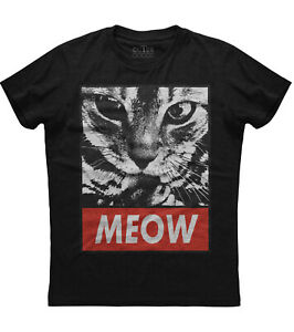 Meow Cat Face Printed Mens Short Sleeve New Cotton Black T-shirt