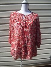 Ladies Womens White Stag Silky Keyhole Red Pink Floral Blouse ~ Size 8-10 Medium