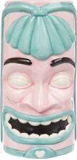 61026 Sourpuss Blue & Pink Tai One On Tiki Mug Face Coffee Cup Retro Hawaiian