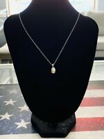 "10k White Gold White Pearl and Diamond Drop Necklace, 20"", Free Shipping"