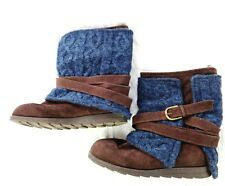Muk Luks Womens Nikki Boots Shoes Brown Faux Suede Blue Knit Buckle Size 11