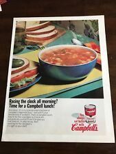 1967 VINTAGE 10X13 PRINT Ad CAMPBELL'S VEGETABLE SOUP RACING CLOCK ALL MORNING