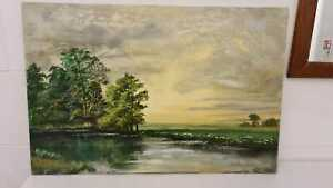 Antique signed dated 1975 rural picture oil painting on canvas Stanley Dollimore