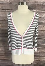 SO Womens Top Size Medium Gray White Striped Button Down Cardigan Sweater