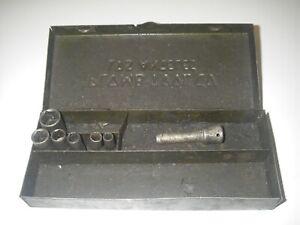 "Vintage Plomb Tools Los Angles 1/4"" Drive Sockets + Metal Box Mechanics"