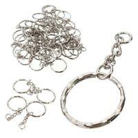 50Pcs 55mm Keyring Blanks Silver Tone Keychain Key Fob Split Rings 4 Link Chain