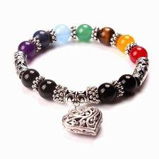 7 Chakra Gemstone Bracelet Heart Pendant Lava Stone Crystal Reiki Healing