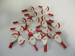 Deko 48 x Holz Klammer Anhänger Weihnachtsmann Kopf Weihnachten basteln