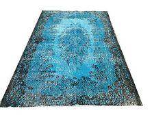 """6'7"""" x 3'10"""" Vintage Turquoise blue aqua  oushak overdyed rug carpet hawaii"""