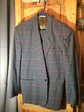 Vintage 80s 90s 2pc Suit Plaid Index Shoulder Italian 34W 2 piece pc M L 44R 44T