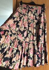 Laura Ashley Vintage Floral Tiered Full Circle Gypsy Skirt Size Small