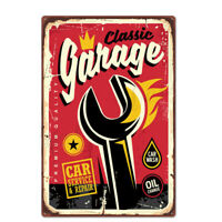 Car Service & Repair Funny Retro Metal Plaque With Pin Up Girl Man Cave Tin Sign