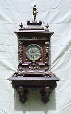 AGU LENZKIRCH WALL CLOCK OAK WITH NICE BRASS DECORATION & ORIGINAL SHELF
