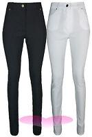 Ladies Black High Waist Trousers Quality School Work Stretch SLIM SKINNY Pants.