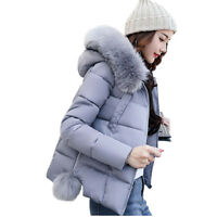 2017 Fashion Winter Women Down Cotton Parka Short Fur Collar Hooded Coat Jacket