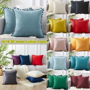 "16"" 18"" 20"" Pom-poms Velvet Plain Cushion Covers Pillow Cases Home Sofa Decor ZX"