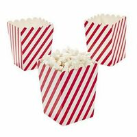 Pack of 12 - Mini Red And White Candy Cane Striped Popcorn Boxes