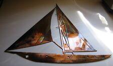 "Nautical SAILBOAT WALL ART DECOR 30"" tall copper/bronze plated"