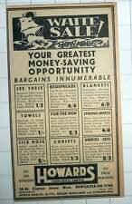 1939 Howard's Newcastle Clayton Street West Bishop Auckland Sunderland Ad