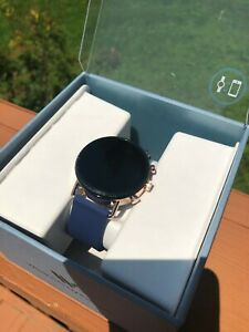 Skagen Falster 2 Stainless Steel and Leather Smartwatch, Blue/Gold SKT5110