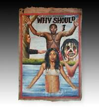 ORIGINAL AFRICAN MOVIE POSTER PAINTING FLOUR SACK GHANA WEST AFRICA 20TH C.