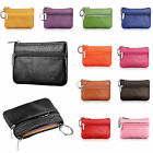Men Women Genuine Leather Card Coin Key Holder Zip Wallet Pouch Bag Purse colrCn