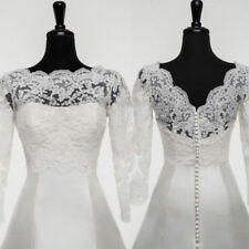 White/Ivory Bridal Bolero/Shrug/Wrap Lace Wedding Jacket V Back Long Sleeve