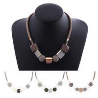 Women Girl Geometrical Necklace Statement Pendants Wood Beads Necklaces Jewellry